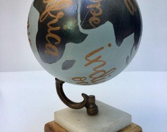 Hand painted globe, custom world globe, calligraphy globe