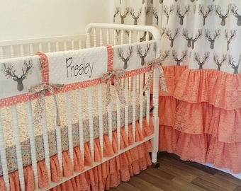 Girl Crib Bedding-Deer Baby Bedding- MADE TO ORDER Stag Bedding- Coral Lace Bedding