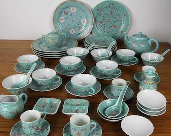 Vintage Chinese China Set Dinnerware Set Rose Famille 55 pcs Turquoise-Green Longevity Symbols & China set | Etsy