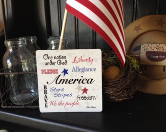 America Magnet, One Nation under God, Liberty Magnet, Pledge Magnet, Allegiance Magnet, Brave Magnet, Stars Stripes Magnet, Freedom Magnet