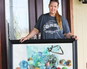 "ORIGINAL - Antique marbles and mason jar - ""The Hoard"" - Art Watercolor painting - FREE SHIPPING! artwork watercolour hyper realism ball jar"
