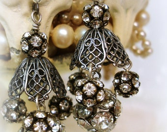 bliNg balls gone wiLd!!! one of a kind vintage assemblage earrings featuring vintage rhinestone bead balls