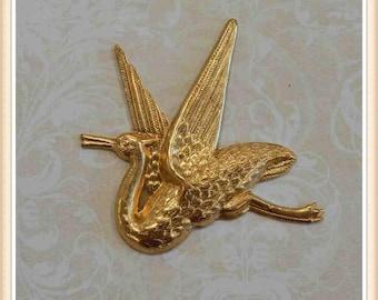 1 pc raw brass vintage bird crane stork flying embellishment ornament stamping #4091