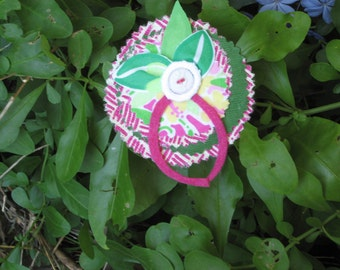 Lilly Pulitzer Recycled Fabric Flower Pin/Brooch/Hat Pin //Lilly Fabric and Notions//One of a KInd//Unique Lilly Pulitzer Accessory