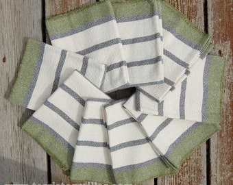On The Border Handwoven Towels - Moss Green