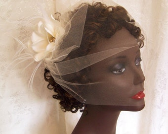 Haute Couture Champagne Tulle Birdcage Wraparound Veil with Silk floral/Pearl Accent-CRBoggs Original Design