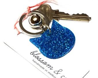 Cat Keyring · Blue Glitter Cat Keyring · Glitter Keyring · Cat Keyring with Bell