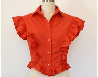 Vintage Red Western Top/ H Bar C California Ranchwear Ruffled Sleeveless Blouse/ Red Pearl Snap Buttons/ Rodeo Square Dance Rockabilly Shirt