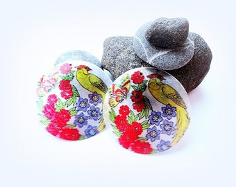 Shell Discs , 50 mm Large Shell Discs, Shell Beads, Painted Shell Discs, painted,round beads, supplies, 2 pcs.