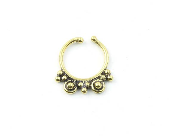 Faux Septum Ring, Fake Septum Ring, Faux Nose Ring, Non Pierced Septum, Body Jewelry, Tribal Septum Ring, Indian Nose Ring