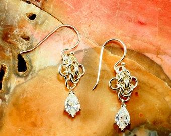 Earrings Sterling Silver filled Swarovaki Clear Cubic Zirconia  Drops
