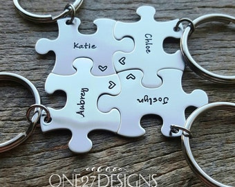 Customized Puzzle Piece Key Chain Personalized with Names  best friends sorority sisters key chain Christmas Gift