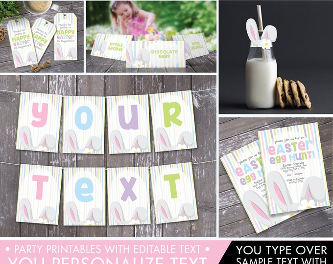 Easter Egg Hunt Set - Easter Party, Bunny Party, Bunny Baby Shower, Spring Party | Editable Text - Instant Download PDF Printable