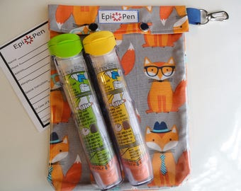 Fox Epi Pen Carrier XL 6x8 w/ Clear Pocket and Clip Holds 2 Allergy Pens Antihistamine First Aid Medical Card / Free Gift Included