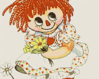 Vintage Retro Raggedy Ann Handmade Cross-Stitch Pattern
