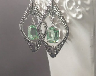 Art Deco Earrings - Art Deco Jewelry - Great Gatsby Jewelry - 1920s Earrings - 1920s Jewelry - Bridal Jewelry - Downton Abbey Style Jewelry