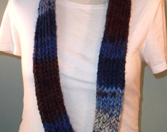 Blue and Brown Infinity Scarf,  Dark Blue Choc Brown and White Loop Scarf, Neck Warmer, Knit Infinity Scarf, Lakeside Scarf - Ready to Ship