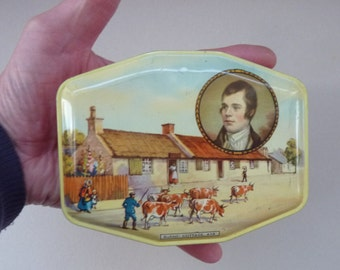 Vintage 1950s / 1960s Horner Toffee Tin. Portrait of Robert Burns, the Poet; and Burns Cottage at Alloway
