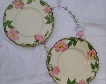 "Vintage Franciscan Hand Desert Rose Plate, Hand Painted Plate, Desert Rose 6 1/4"" Round Plate - Set of 2"