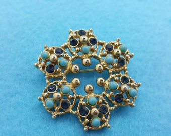 Sarah Coventry Canada Navy and Turquoise  Brooch