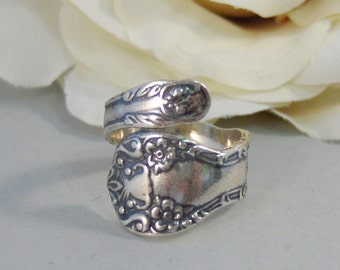 Rosey Spoon,Ring,Sterling Silver,Spoon,Spoon Ring,Antique Ring,Silver Ring,Rose,Wrapped,Adjustable. Handmade jewelery by valleygirldesigns.
