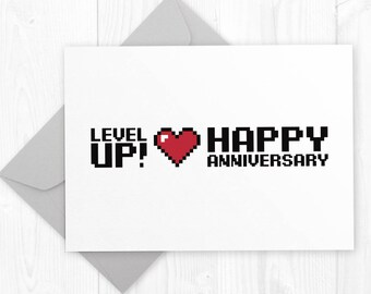 Level UP - Wedding Anniversary geeky printable card - funny Anniversary card for gamer husband, wife or partner - humor anniversary card