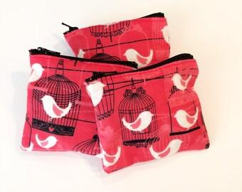 Bird coin purse, ear bud purse, earbud holder, danish style purse, credit card purse, key bag, small red bag, teachers gift, teens pouch