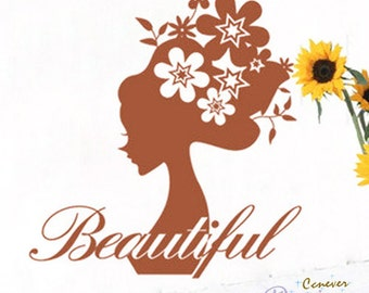 Beauty flower girl 26inch H----Removable Graphic Art wall decals stickers home decor