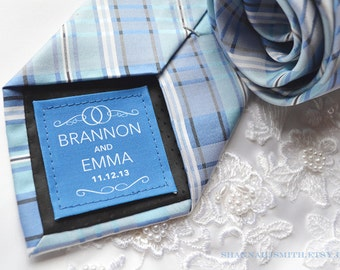 Personalized Groom Tie Patch • Contemporary • Something Blue • Suite Label • 2nd Anniversary Gift • Cotton Anniversary Gift