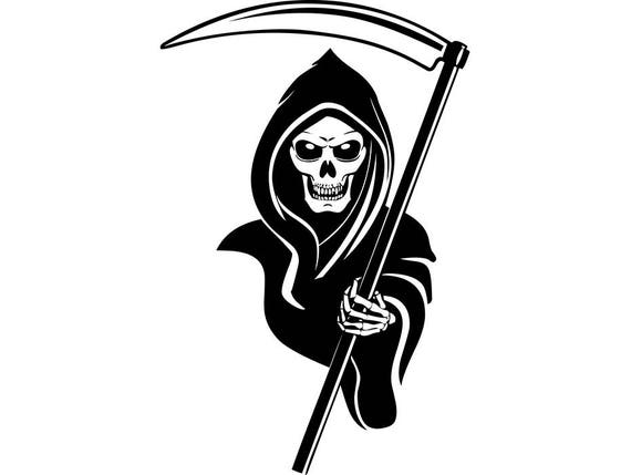 Grim Reaper 2 Skull Sickle Blade Banner Shield Death Killer