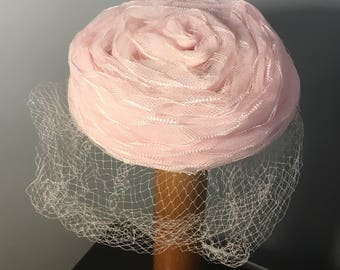 PINK Vintage 1960's Small PILLBOX Hat, 60s BRIDESMAID Hat