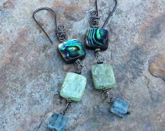 ABALONE earrings, green and blue KYANITE earrings, sterling silver earrings, blue and green gemstone jewelry, handmade artisan jewelry