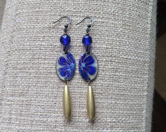 cobalt blue floral earrings, very long royal blue earrings, cobalt & gold long earrings, glass enameled copper jewelry, lightweight earrings