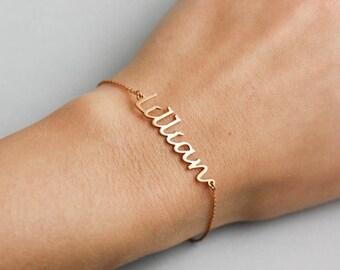 Rose Gold Name Bracelet, Custom Name Bracelet, Rose Gold Bracelet, Personalized Bracelet, Custom Name Jewelry, Bracelet with Name, SB0181