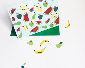 Tropical Greetings Card, fruit patterned - watermelon, apples, bananas and pears colourful card, A6.