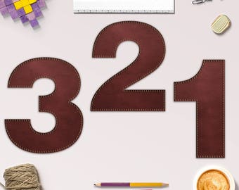 Stitched Leather Numbers, Stitched Leather Number Clipart, 10 Leather Numbers For Scrapbooking, Crafting, Invites & More, BUY5FOR8