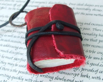 Red leather  book Necklace - a locket for your thoughts
