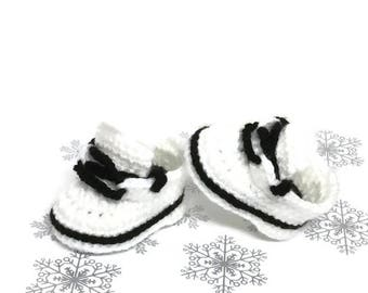 Newborn Shoes Crochet White Black Sneakers Shoes Baby Booties