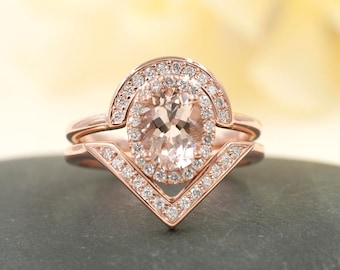 2 PCS Rose Gold Morganite Engagement Ring Set.0.38 ct High Quality Diamond Engagement Ring.Unique Design High Quality Diamond Ring.