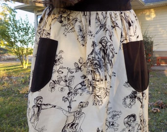 Reversible Half Apron with Pockets. Halloween Party Hostess Gift for Her Skeleton Gifts Under 50 Kitchen for Chef