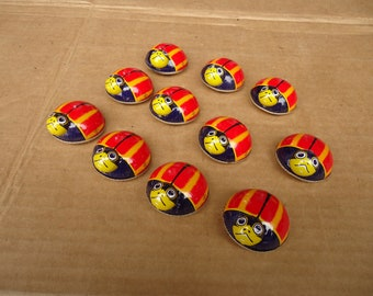 vintage tin toys lady bug friction pull back toys lot,made in japan lot of 12 pieces
