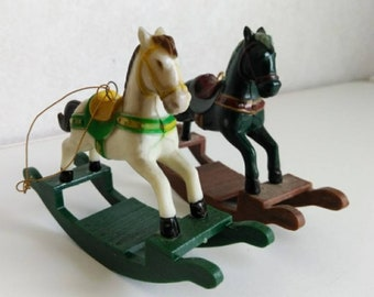 2 Vintage Miniature plastic Rocking Horse ornaments / Christmas / Miniature / holiday / figurine / white / green / red / yellow /