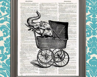 Elephant in Baby Carriage - Ganesha Child, Kids room decor, Circus Animal art, gift for mom, weird stuff, Elephant Wall Decor, Nursery decor