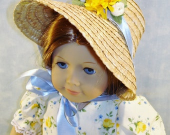 18 Inch Doll Clothes - Yellow Floral Stripe Gown and Poke Bonnet handmade by Jane Ellen to fit 18 inch dolls