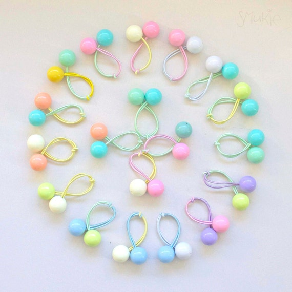 Hair ties. Elastic hair ties. Retro bobbles. Funky. Bubble Gum Balls. Pastel Colours
