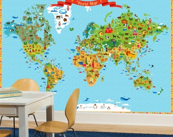 Oh the places youll go world map kids world map use world map kids world map with funny animals and illustration wallpaper funy world map full covering wall mural gumiabroncs Images
