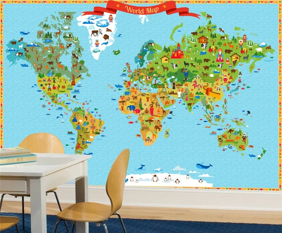 World map kids world map with funny animals and illustration world map kids world map with funny animals and illustration wallpaper funy world map full covering wall mural gumiabroncs Images