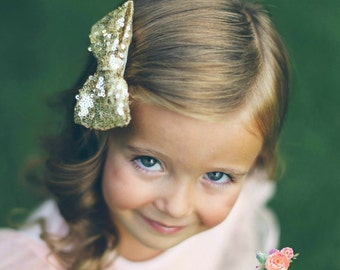Gold Hair Bows,Baby Hair Clips, Sequined Gold Hair Bow, Girls Hair Bows- Hair Bows,Hair Clips, Clippies,hairbows.