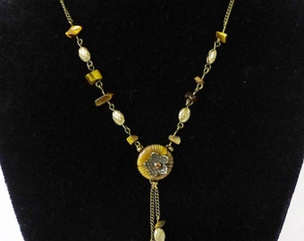 Vintage Tiger's Eye stone necklace semi precious stones signed on back M R