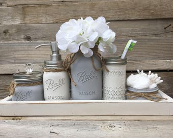 Beau Gray Bathroom Decor, Gray Bathroom Set, Gray Mason Jar Bathroom Set, Bathroom  Set